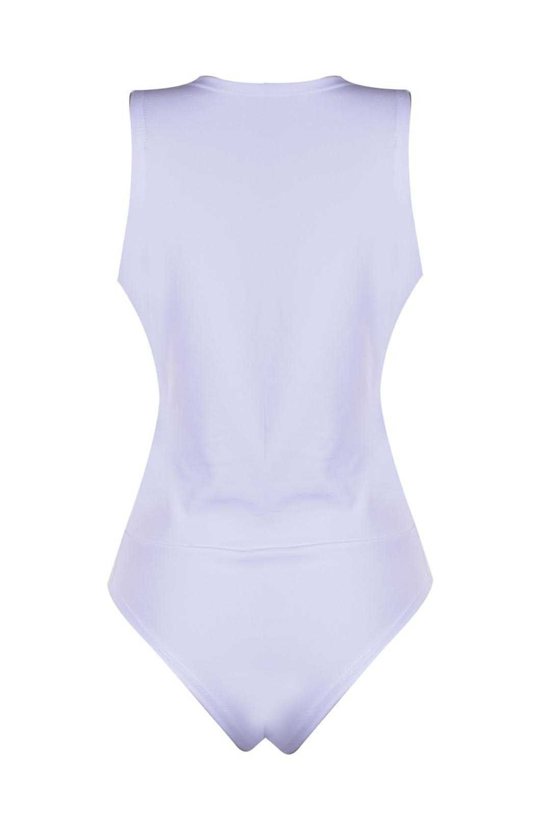 Body Outlet Dri BM Estilo Regata Alça Grossa Nó Decote Frontal Branco