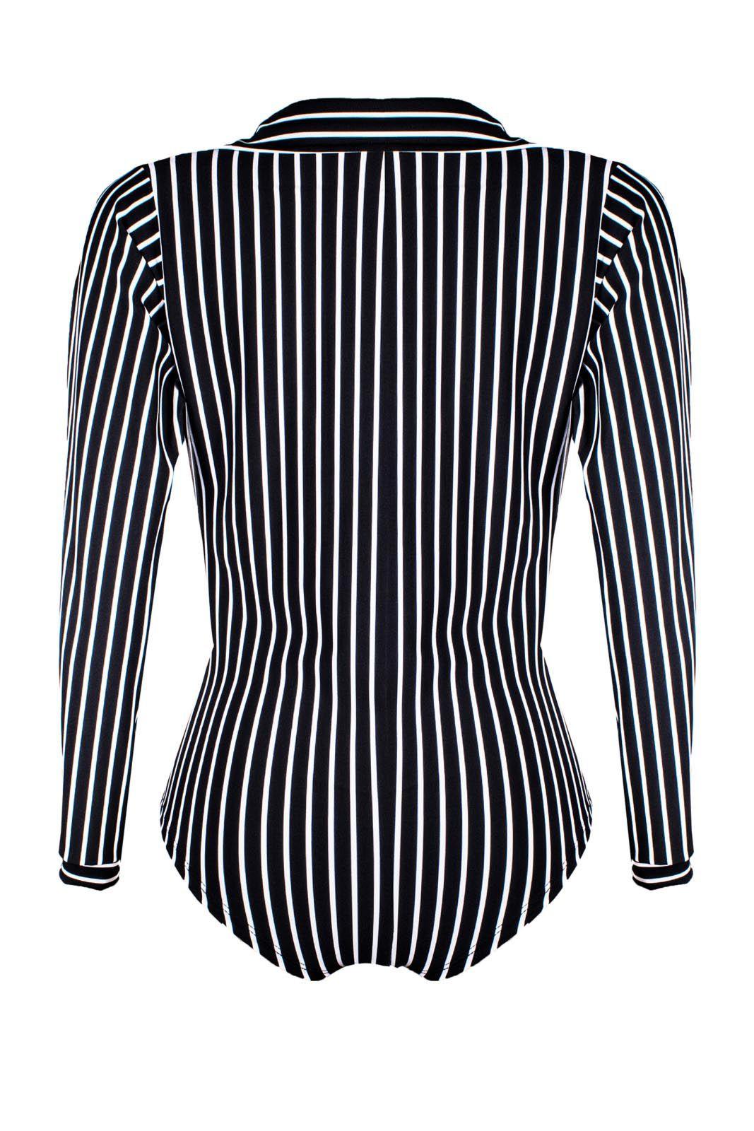 Body Outlet Dri Camisa Suplex Manga Longa Gola Transpassada Listrado Preto Com Branco
