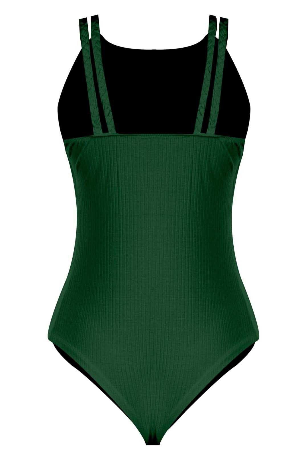Body Outlet Dri Feminino Canelado Decote Fechado Detalhe Alça Trança Verde