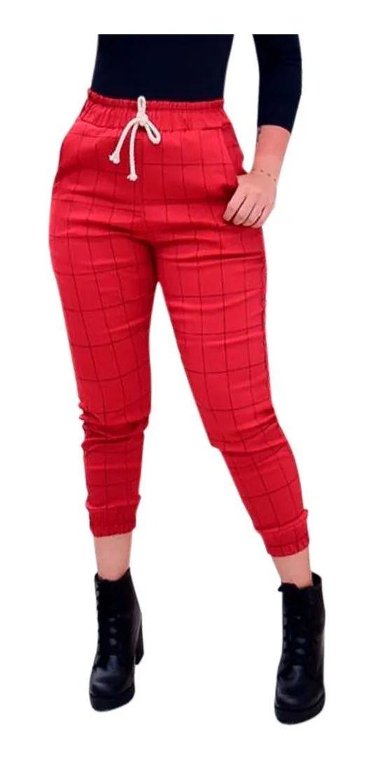 Calça Bengaline Jogger Xadrez Cós Alto Detalhe Capri Cordão Vermelho