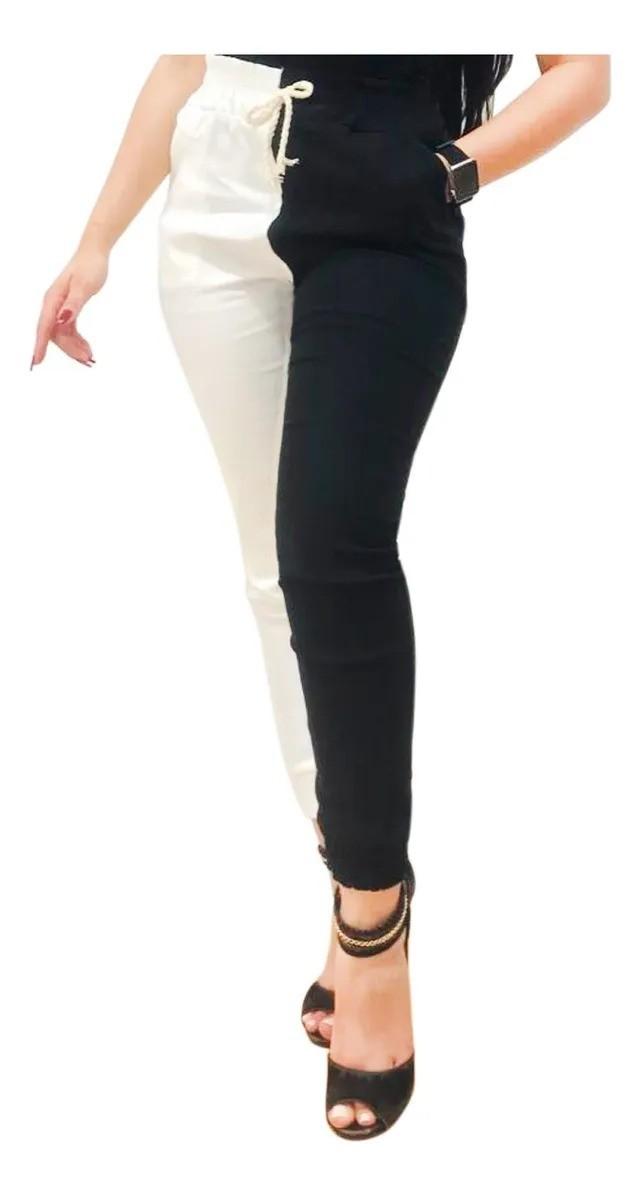 Calça Feminina Bengaline Bicolor Preto E Branco Promoção