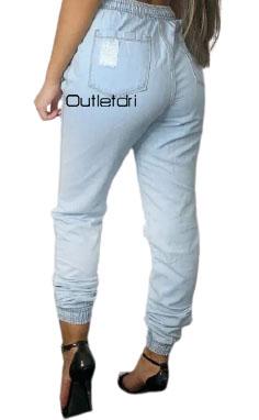 Calça Feminina Jogger Jeans Destroyed Cintura Alta Blogueira