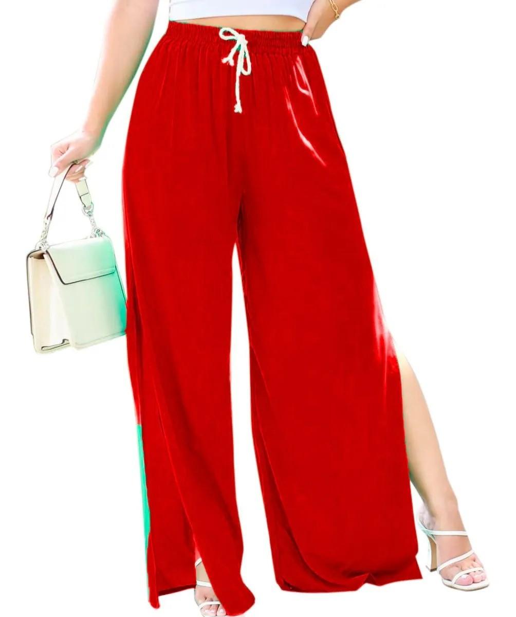 Calça Feminina Pantalona Com Forro E Fenda Lateral