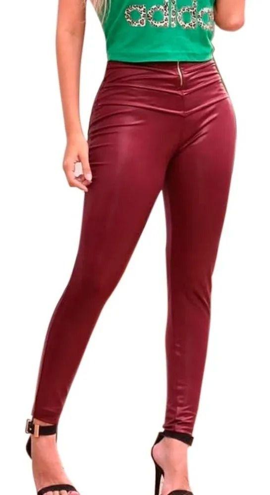 Calça Feminina Skinny Cirrê Couro Eco Detalhe Ziper Frontal vermelho