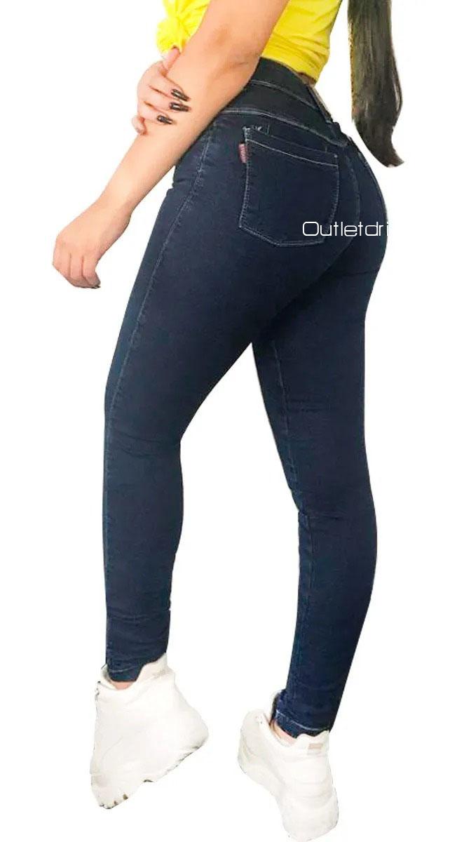 Calça Jeans Feminina Com Lycra Básica Cós Médio Promoção