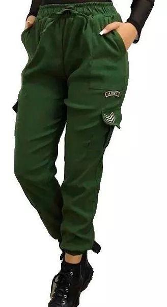 Calça Jogger Bengaline Militar Army Feminina Blogueira Moda Verde