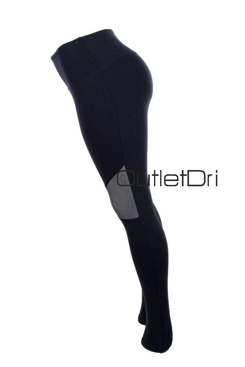 Calça Leggin Leg Poliamida Cós Alto Fitness Detalhe Joelho Tule