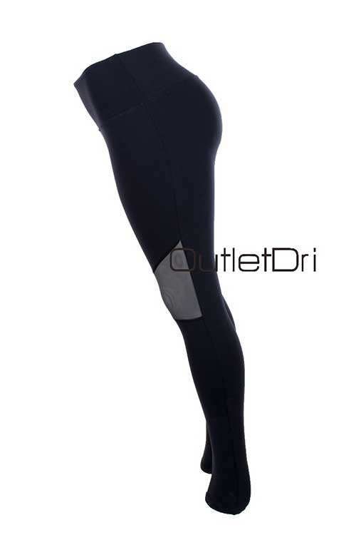 Calça Leggin Leg Poliamida Cós Alto Fitness Detalhe Tule
