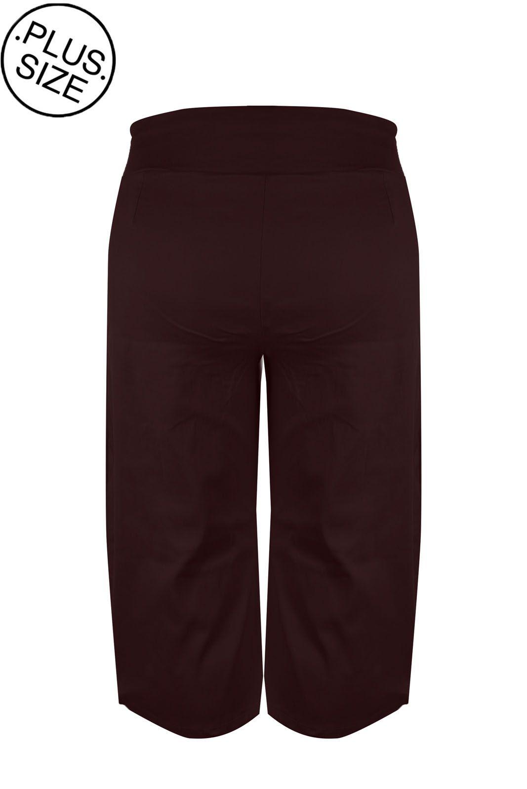 Calça Outlet Dri Pantalona Casual Liso Bengaline Cós Alto Vinho
