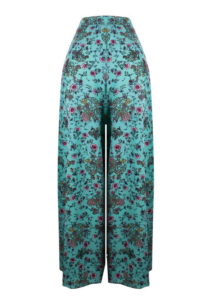 Calça Pantalona Pantacourt Estampada Detalhe Envelope Fenda