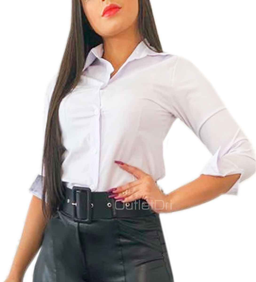 Camisa Camisete Feminino Manga 3/4 Liso Branco