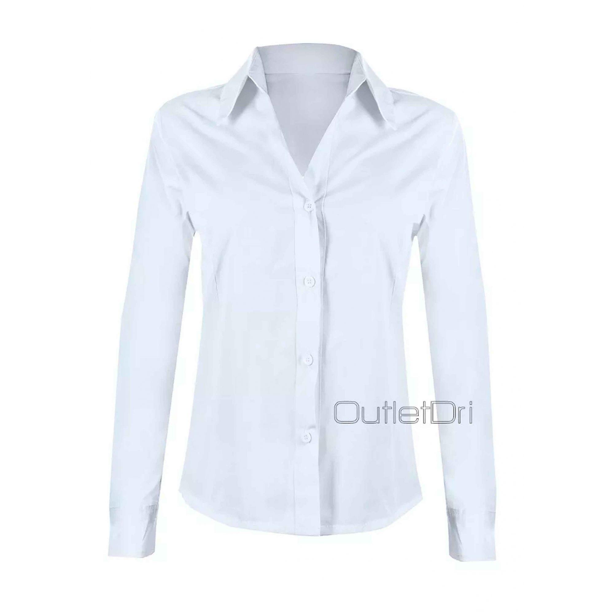 Camisa Camisete Feminino Manga Longa Liso Branco