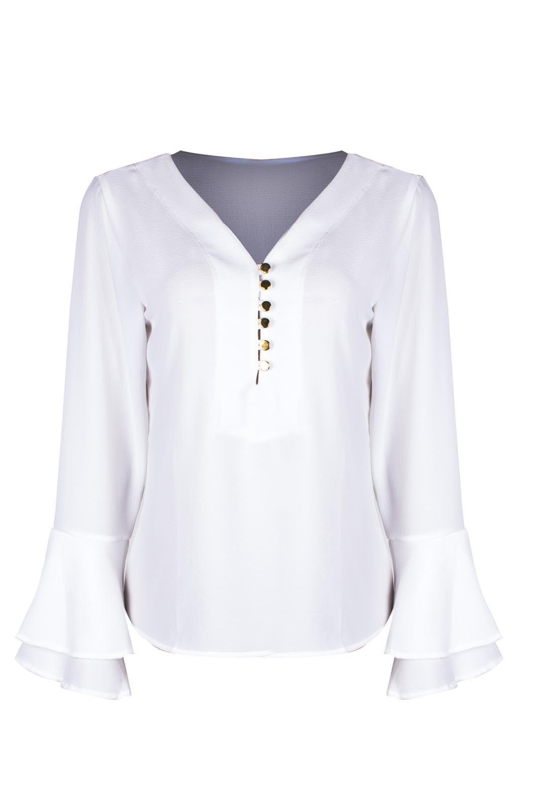 Camisa Outlet Dri Social Básica Crepe Manga Flare 6 Botões Decote Branco