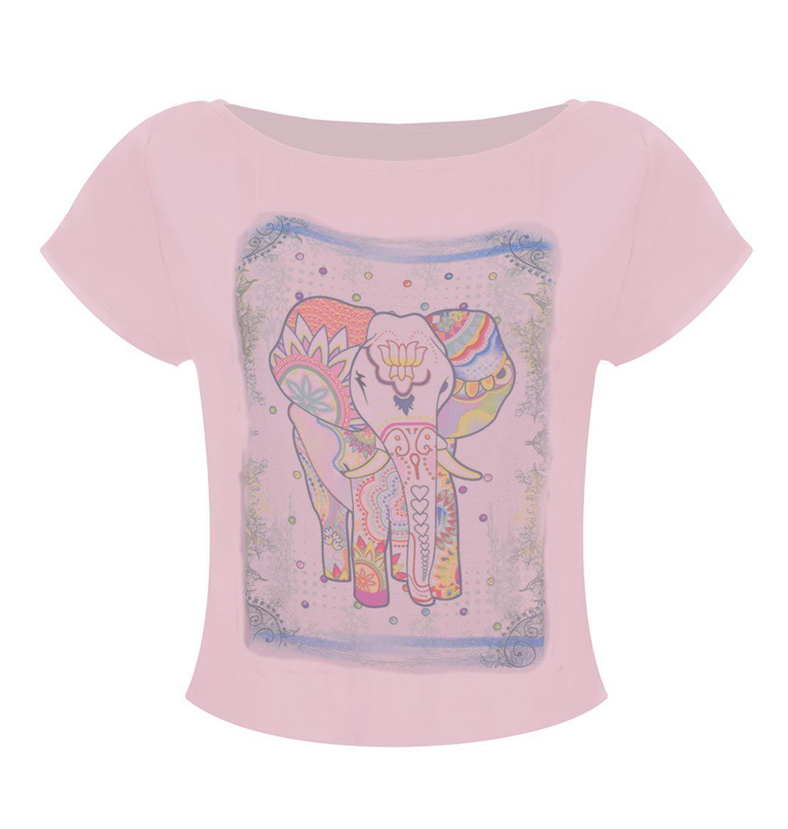 Camiseta OutletDri T-Shirt Estampa Elefante Rosa