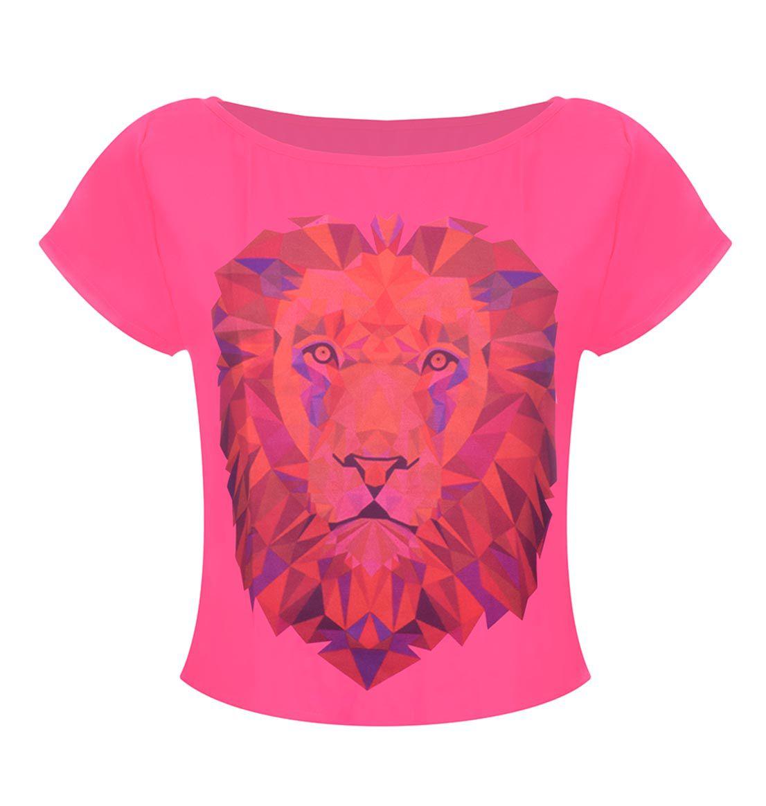 Camiseta OutletDri T-Shirt Estampa Leão Rosa