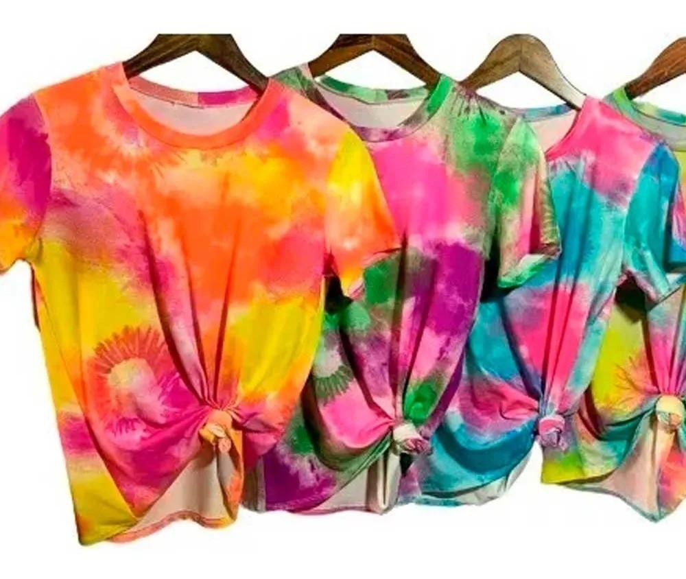 Camiseta Tie Dye T-shirt Colorida Feminina Blusa Lançamento Laranja
