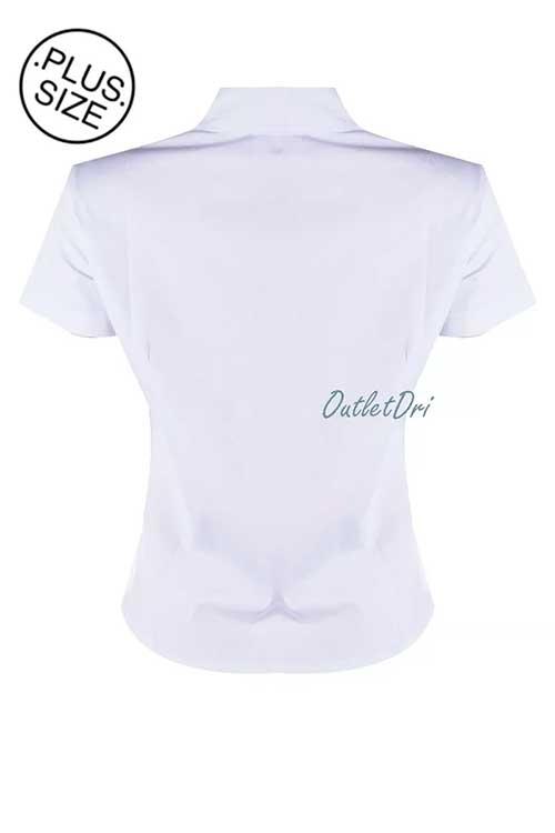 Camisete Camisa Feminino Plus Size Social Branco Manga Curta