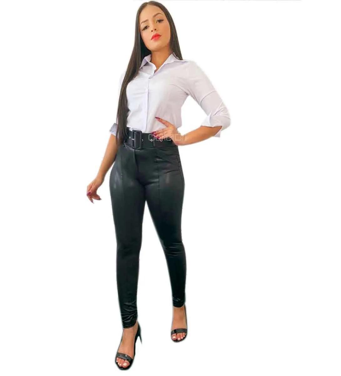 Camisete Plus size Camisa Feminino Social Branco Manga 3/4 Promoção