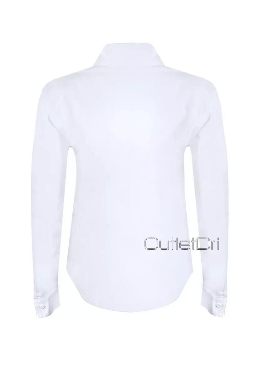 Camisete Camisa Feminino Social Branco Manga Longa Promoção