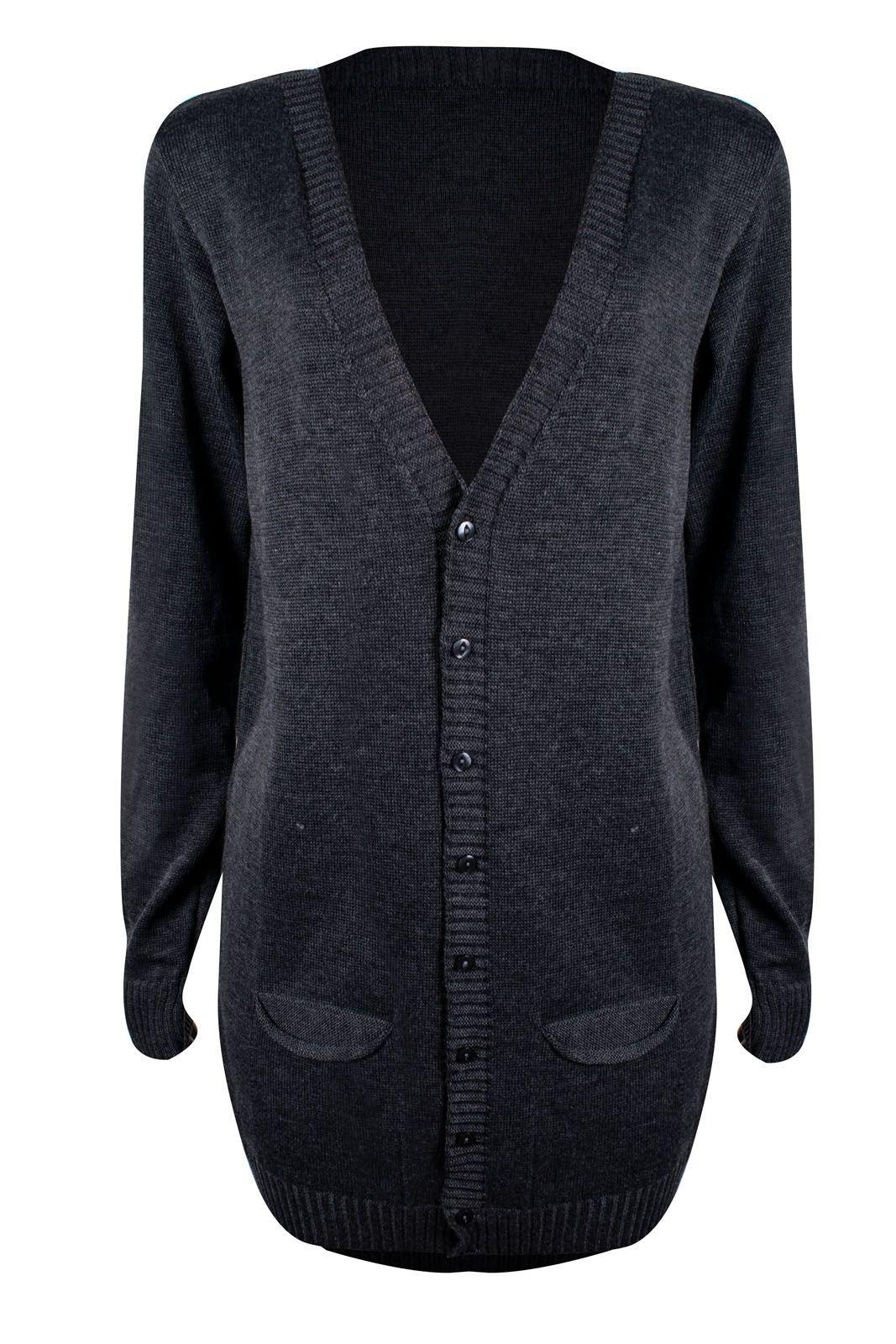 Cardigan Outlet Dri Kimono Longo Tricot Bolso Frontal 8 Botões Cinza