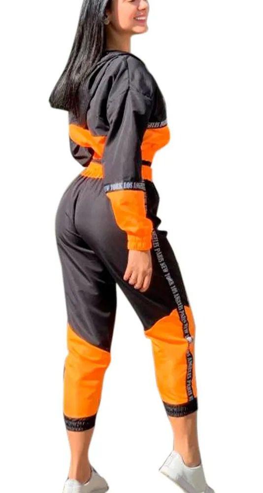 Conjunto Bicolor Neon Tactel Jaqueta Calça Longa New York laranja