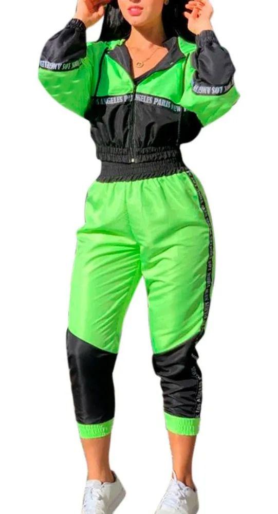 Conjunto Bicolor Neon Tactel Jaqueta Calça Longa New York Verde-limão