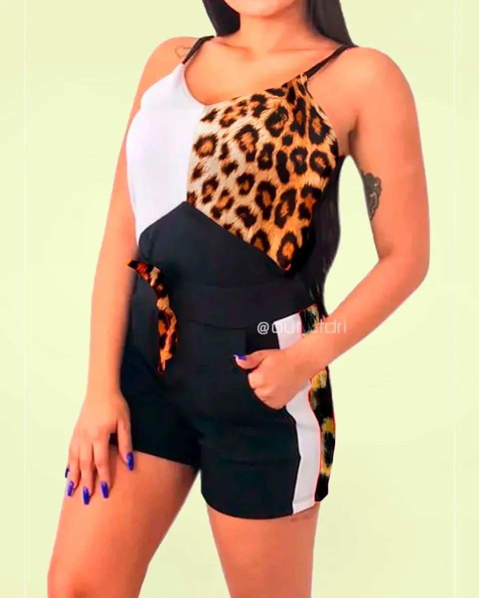 Conjunto Blusa Blusinha Regata E Shorts Malha Crepe Promoção Animal Print