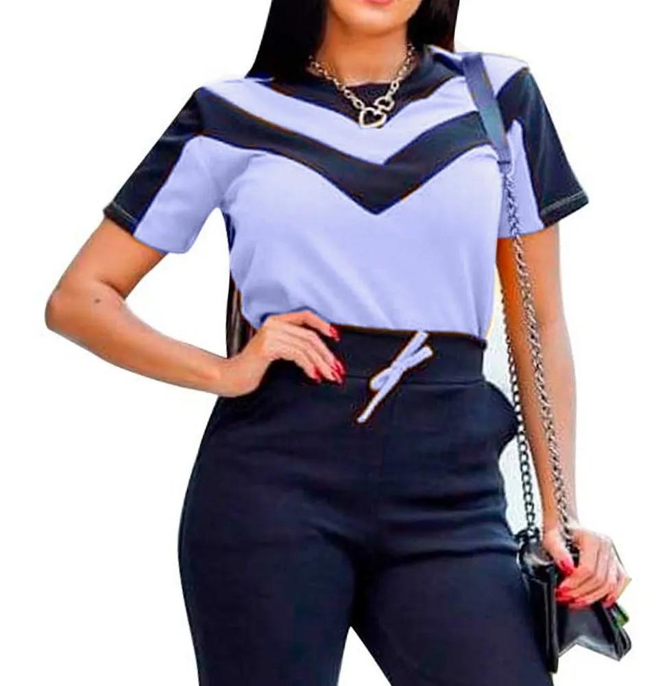 Conjunto Blusa Manga Curta Calça Detalhe Bicolor Estampa V
