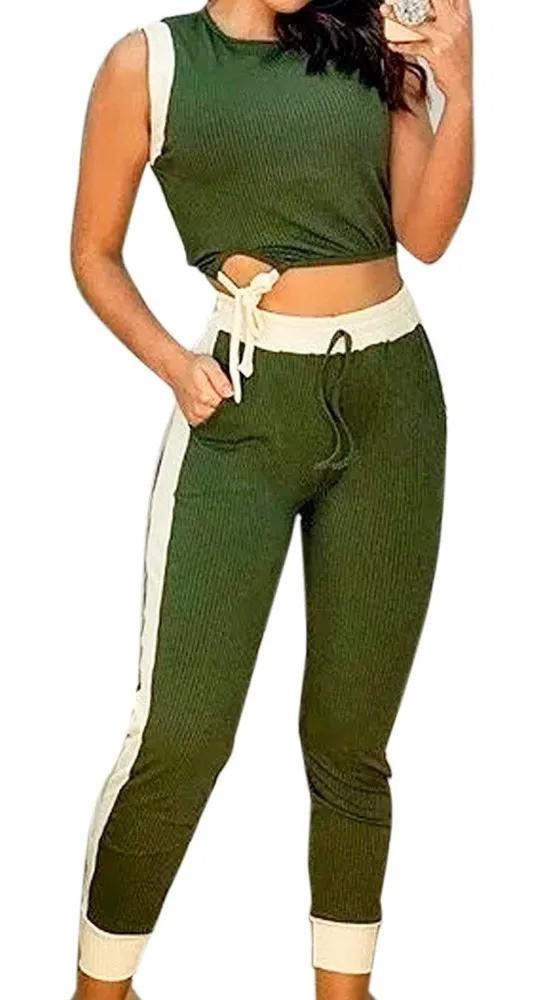 Conjunto Cropped E Calça Bicolor Malha Canelada Promoção