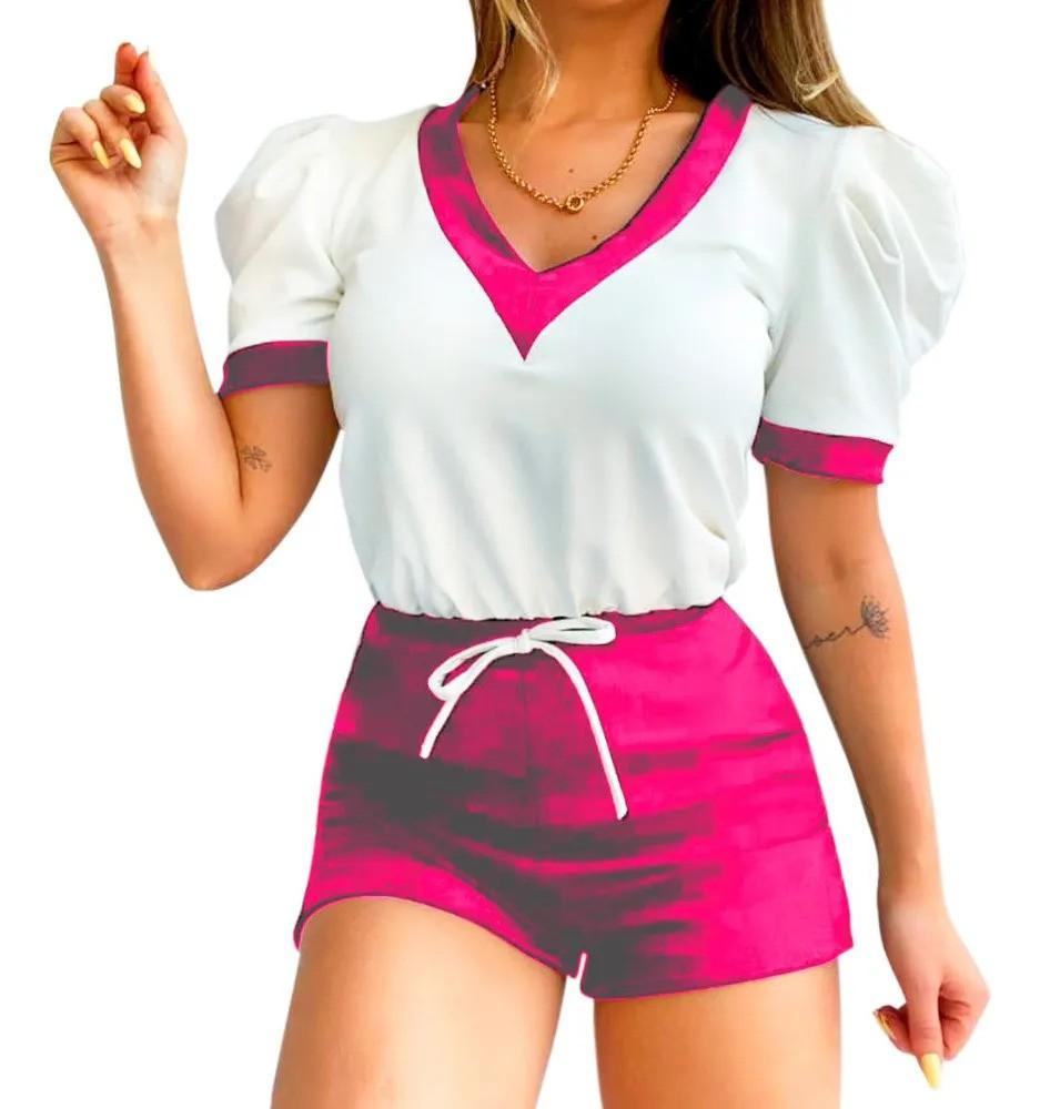 Conjunto Feminino Blusa Blusinha Short Shortinho Bicolor
