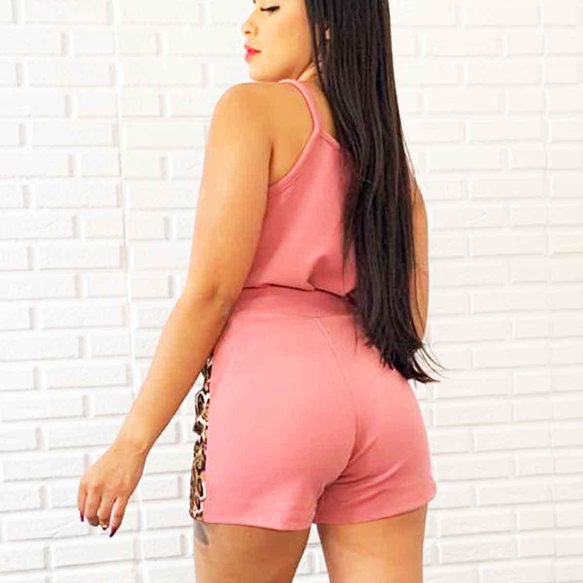 Conjunto Feminino Crepe Short E Blusa Regata Detalhe Onça