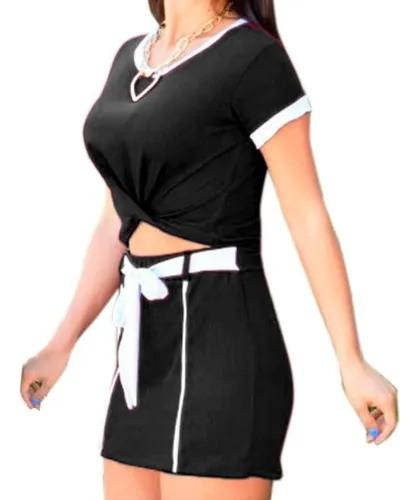 Conjunto Feminino Cropped Manga Curta E Shorts Saia Promoção