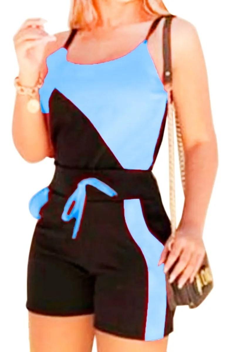 Conjunto Feminino Regata Blusinha Short Crepe Bicolor Verão