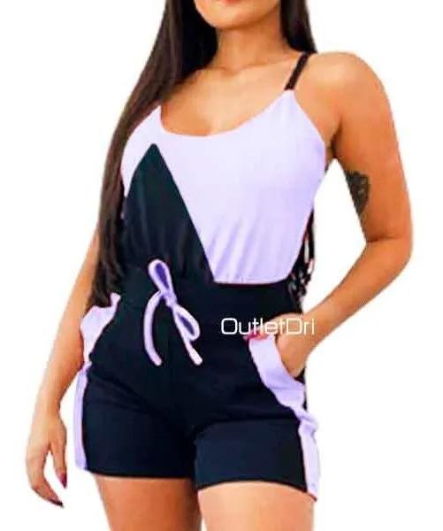 Conjunto Plus size  Regata E Shorts Verão Detalhe Bicolor Malha Crepe Plus size