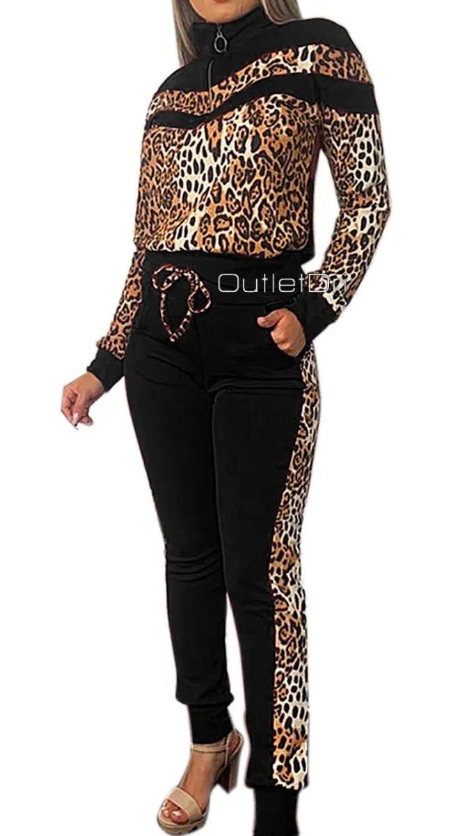 Conjunto Jaqueta E Calça Detalhe Animal Print Oncinha