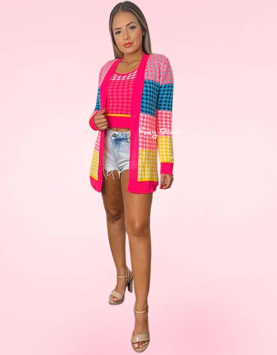 Conjunto Kimono Tricot Croche Cropped Alça Grossa Geométrico
