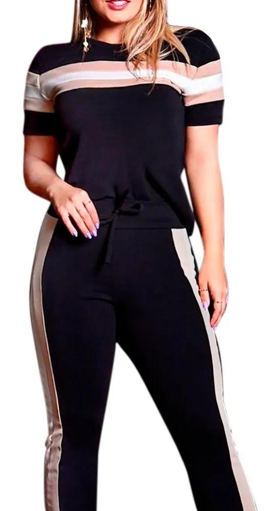 Conjunto Listrado Calça Blusa Crepe Plus Size P Ao Xg 46 48