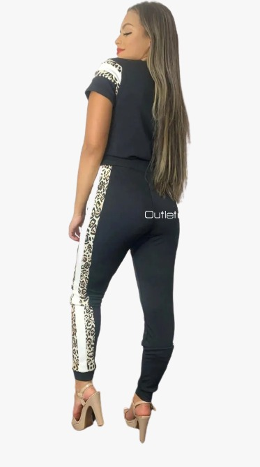 Conjunto Listrado Calça E Blusa Crepe Casual Roupas Luxo Top Animal Print