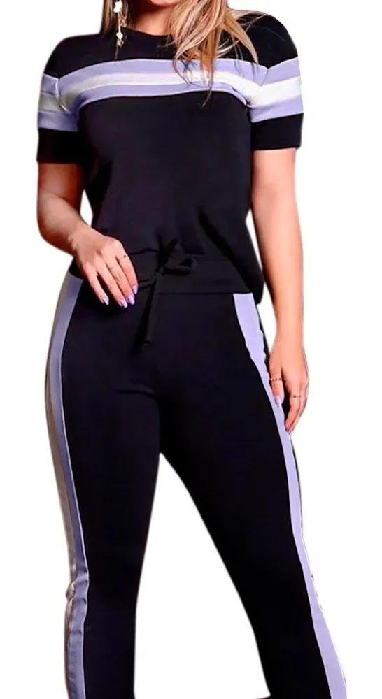 Conjunto Plus size  Listrado Calça E Blusa Crepe Casual Roupas Luxo Top