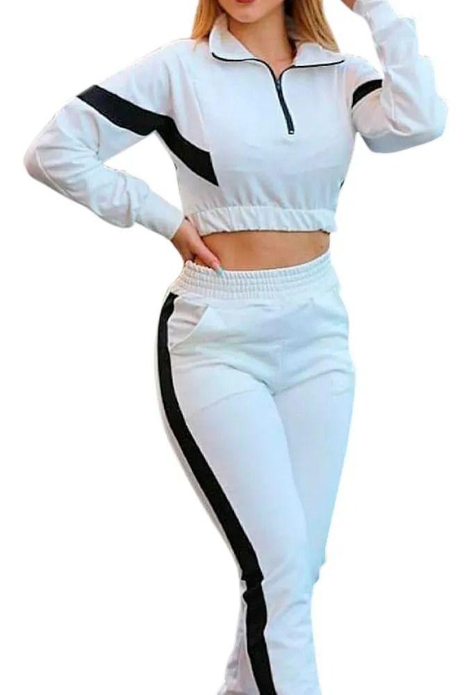 Conjunto Moletom Inverno Blusa Bicolor E Calça Tendência Branco
