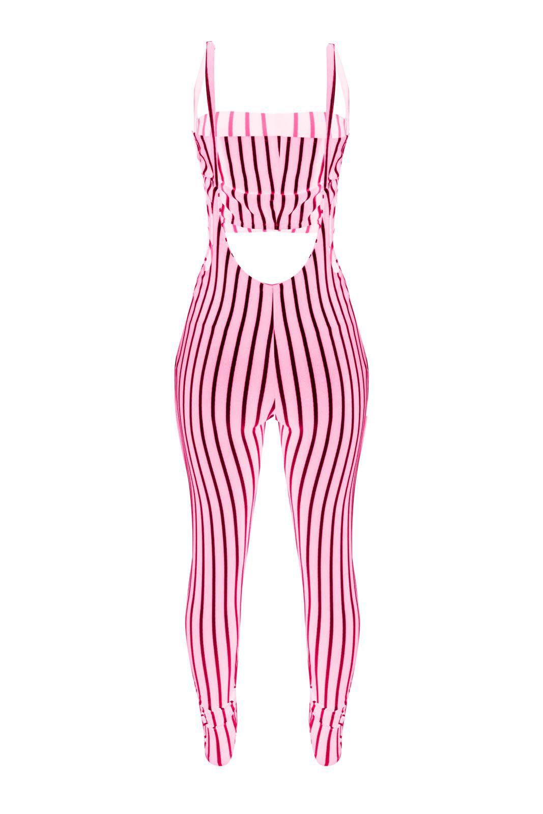 Conjunto Outlet Dri Cropped Alcinha Calça Legging Listrado Rosa