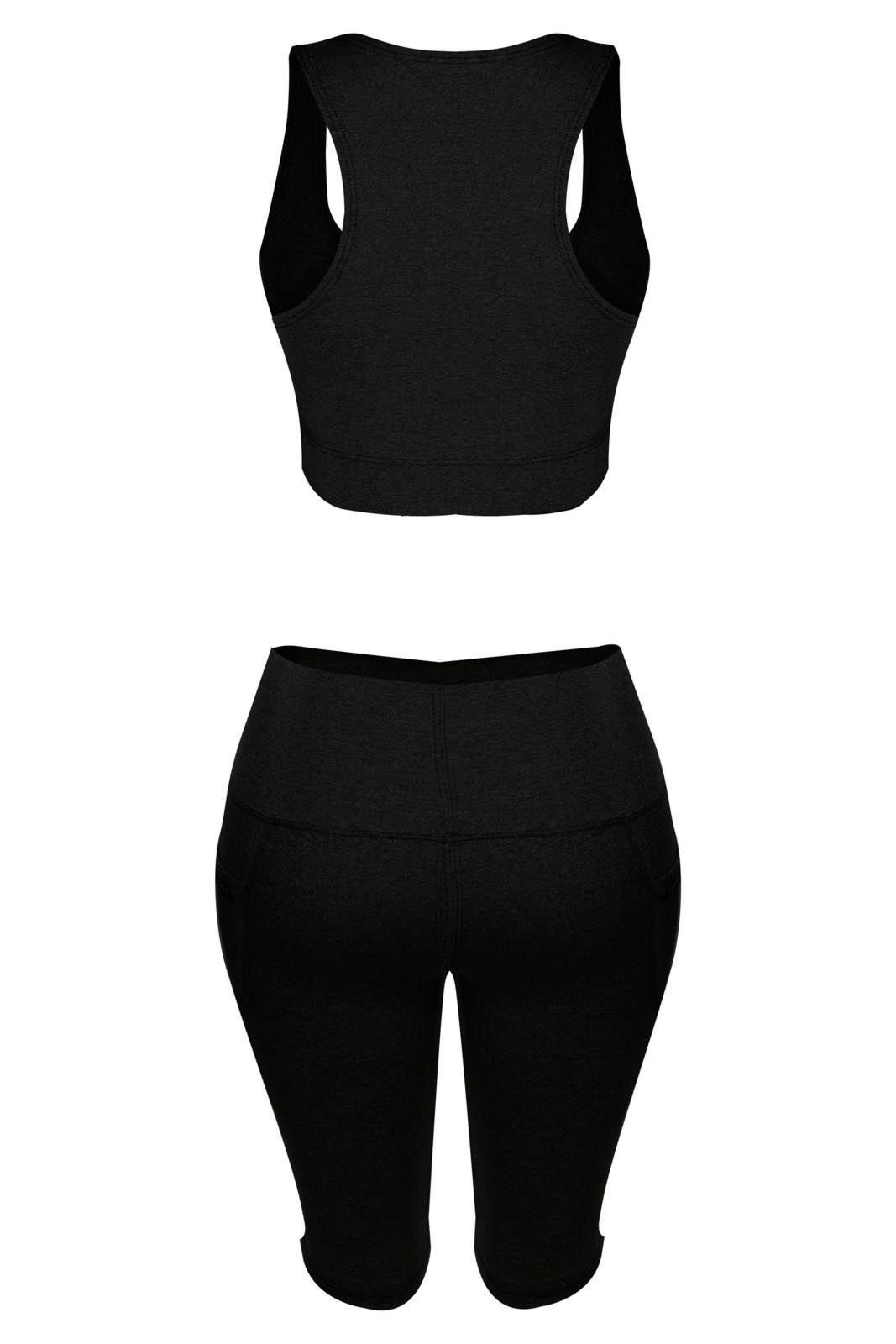 Conjunto Outlet Dri Feminino Fitness Academia Top Shorts Bermuda Suplex Preto