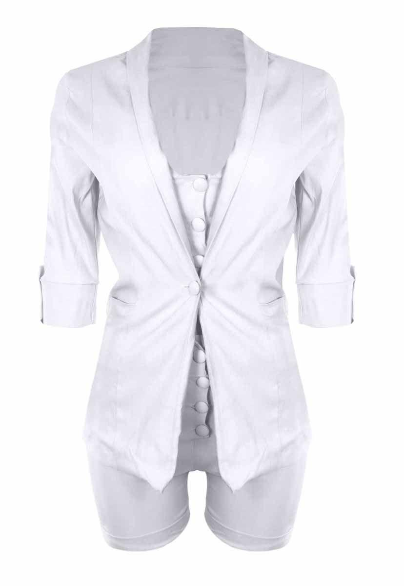 Conjunto OutletDri Bengaline Top Cropped Alcinha Maxi Blazer E Shorts Branco