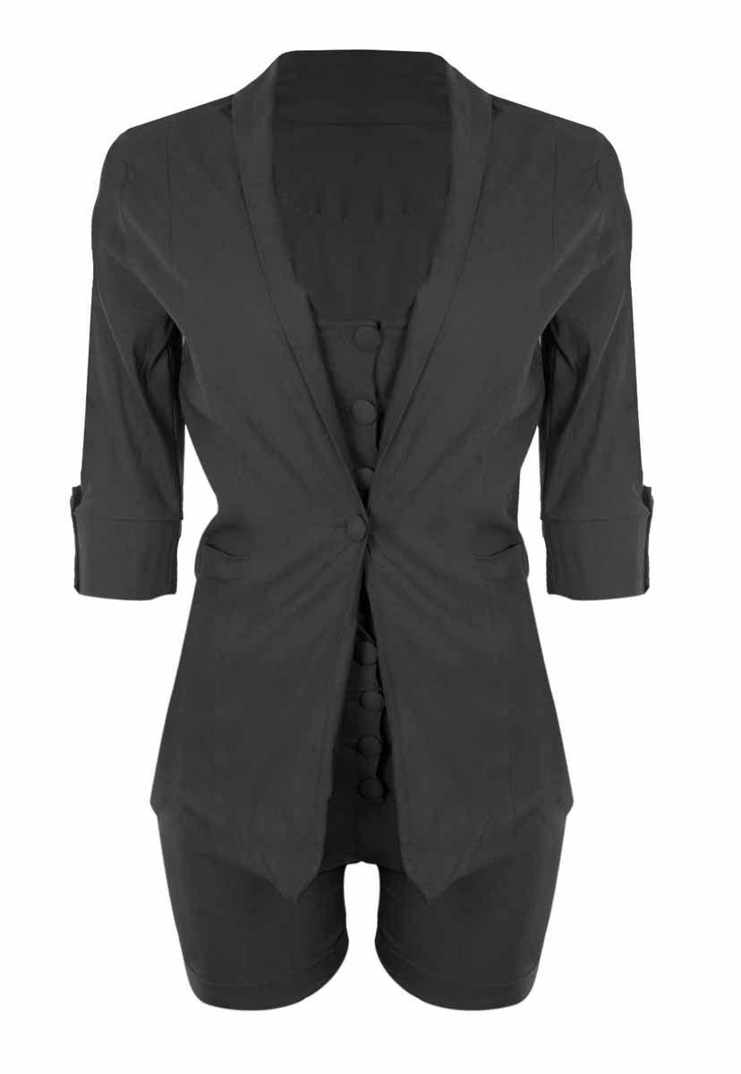 Conjunto OutletDri Bengaline Top Cropped Alcinha Maxi Blazer E Shorts Preto