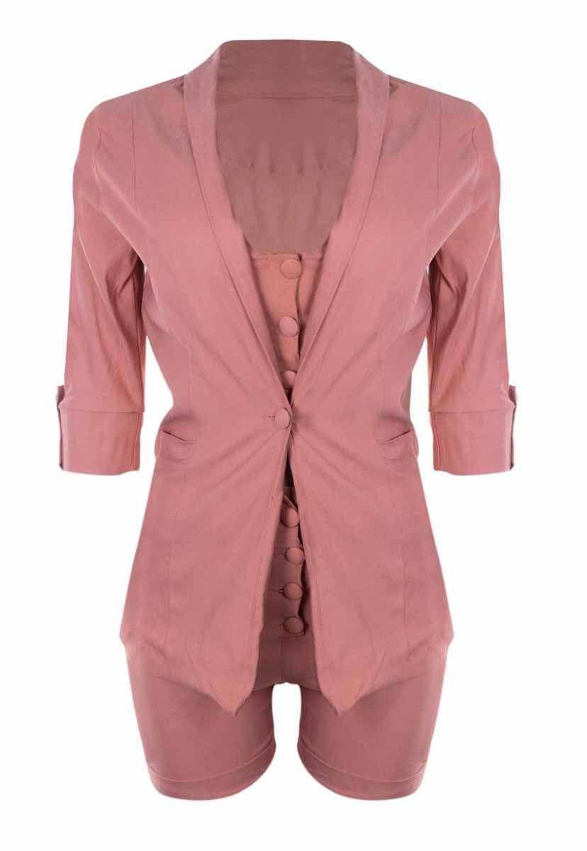 Conjunto OutletDri Bengaline Top Cropped Alcinha Maxi Blazer E Shorts Rosa