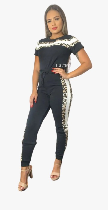 Conjunto Plus size Listrado Calça E Blusa Crepe Casual Roupas Luxo Top Animal Print