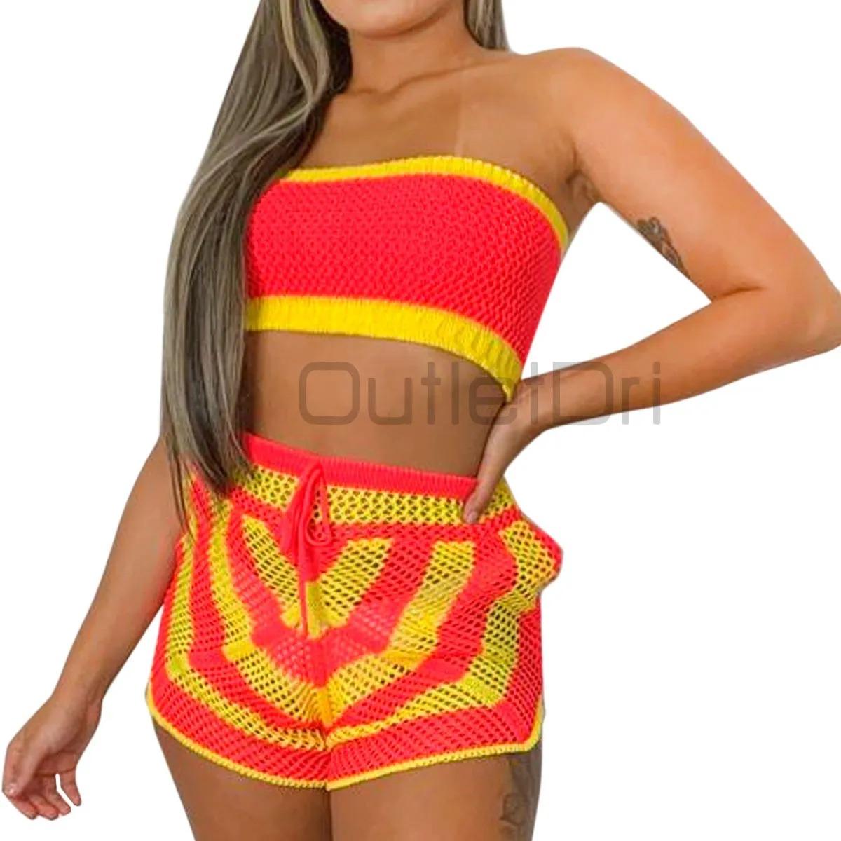 Conjunto Saída De Praia Top E Shorts Crochê Tricot Verão