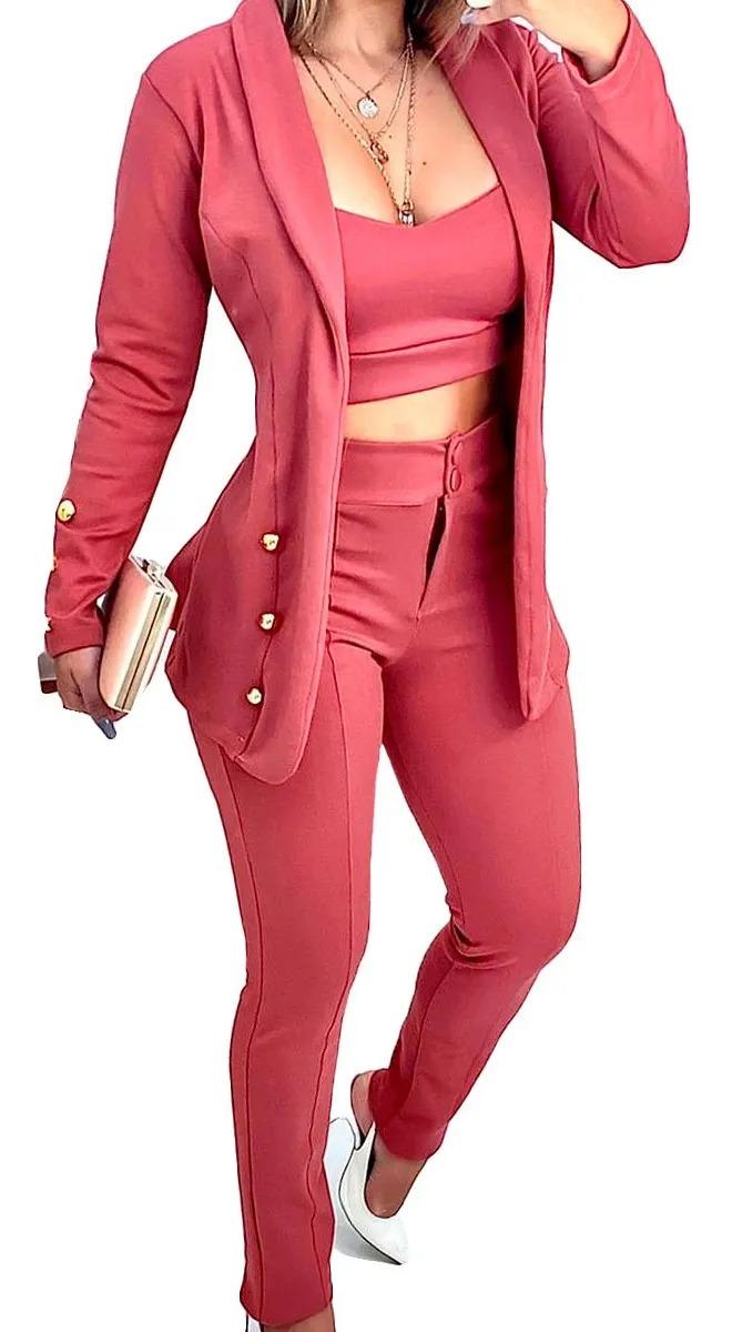 Conjunto Social Maxi Blazer Cropped E Calça Detalhe Botão