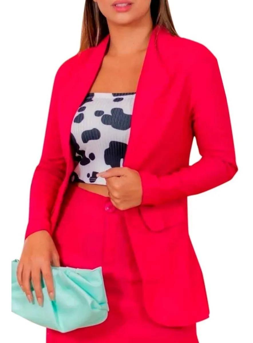 Conjunto Social Maxi Blazer Saia Secretária Moda Evangélica