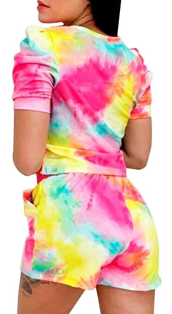 Conjunto Tendência Tie Dye Blusa Cropped Shorts Com Bolso Amarelo